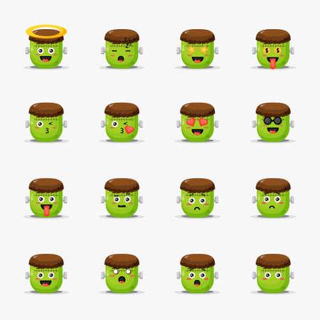 Cute frankenstein with emoticons set Illusztráció