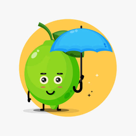 Cute lime mascot goes to office