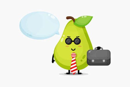 Cute pear mascot goes to office