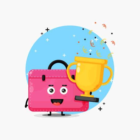 Cute work bag mascot lifts the trophy Illusztráció