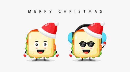 Cute sandwich mascot wearing a Christmas hat and wishing you a Merry Christmas