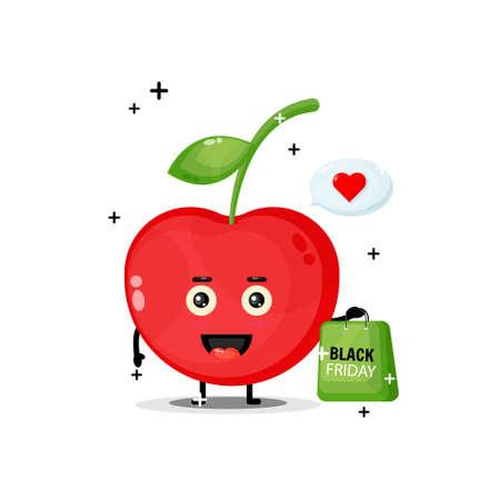 Cute cherry mascot carries a black Friday shopping bag