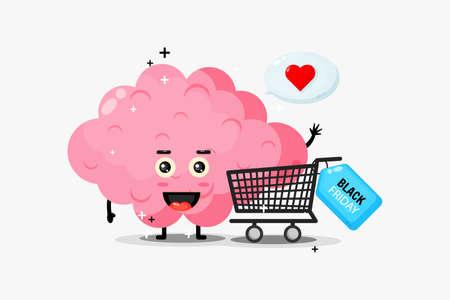 Cute brain mascot is shopping on black Friday