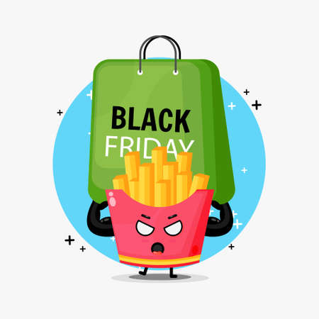 Cute French fries mascot carrying a black friday bag