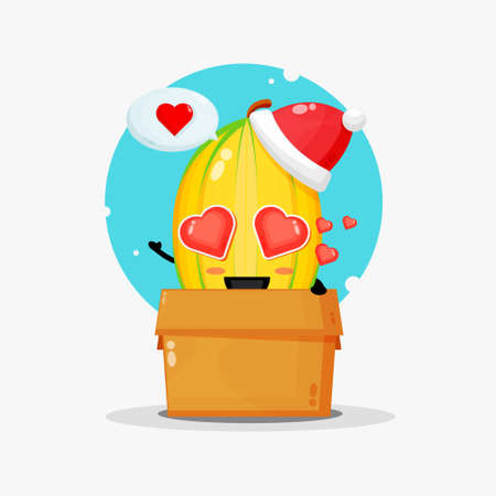Cute star fruit mascot in a box wearing a Christmas hat