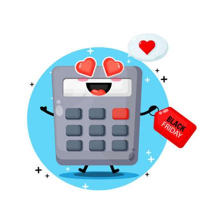 Cute mascot calculator with black Friday discount