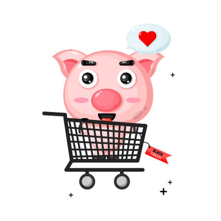 Cute pig mascot in shopping cart with black friday discount