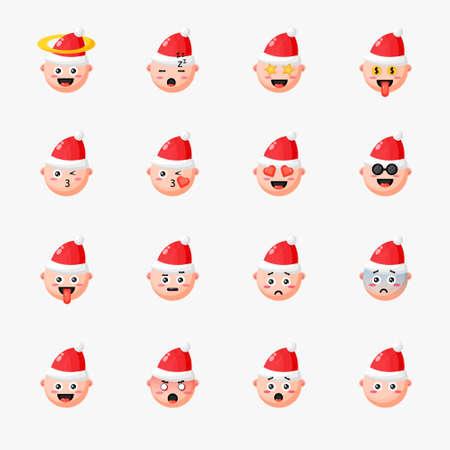 Boy wearing Christmas hat with emoticon set Illusztráció