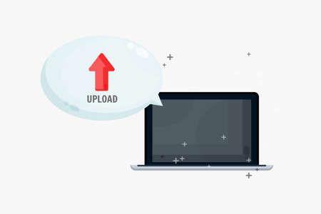 Upload files on laptop with bubble speech