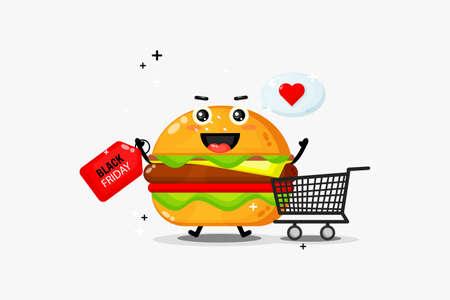 Cute burger mascot with black friday discount Illusztráció