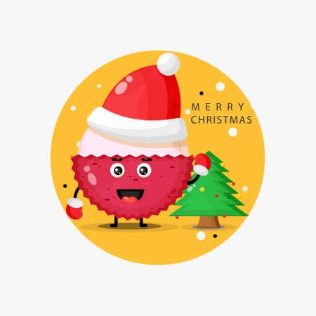 Cute lychee mascot wishing you a merry Christmas Illusztráció
