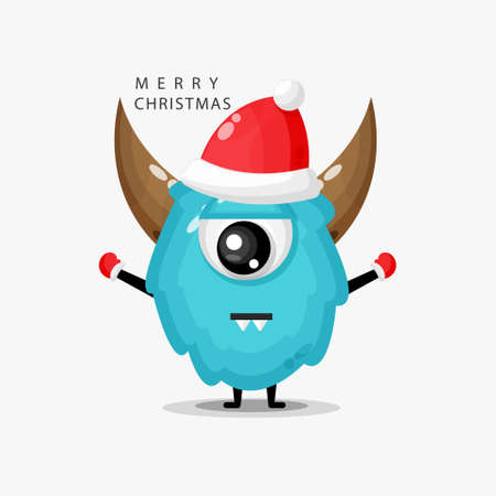 Cute monster wearing a Christmas hat with a flat expression