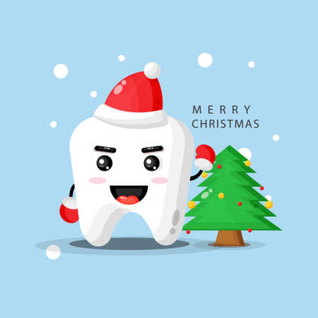 Cute mascot tooth happy to celebrate Christmas day