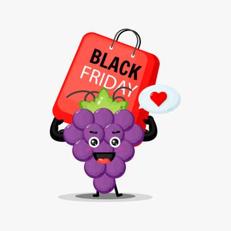 Cute grape mascot carrying a black friday bag Illusztráció