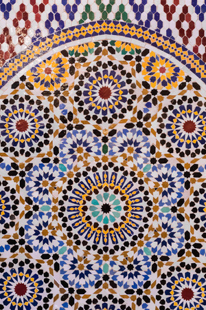 moroccan culture: Moroccan style handmade dedicated mosaic in round shape for background Stock Photo