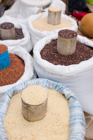various types of raw rice selling in the market