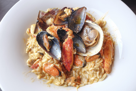 Seafood risotto with shrimp, mussels, lobster