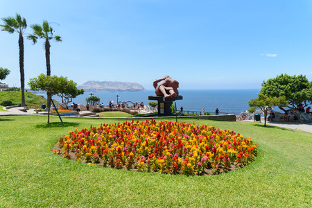 Colorful flowers garden with palm trees in summer against blue sky Reklamní fotografie