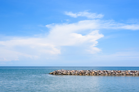 Calm blue ocean with rock, no wave and blue sky