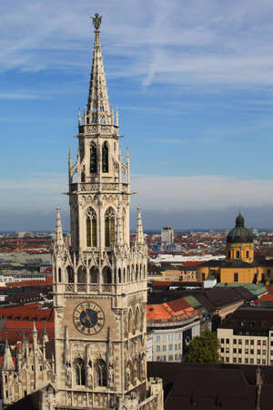 Aerial view of the tower clock with Munich city in background photo