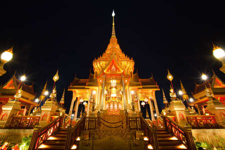 pyre: The royal golden funeral pyre in Royal Ceremony cremation fired of royal family of Thailand Stock Photo