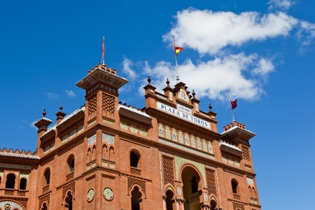 Plaza de Toros, The bull fight stadium in Madrid, Spain with clear blue sky on the background photo
