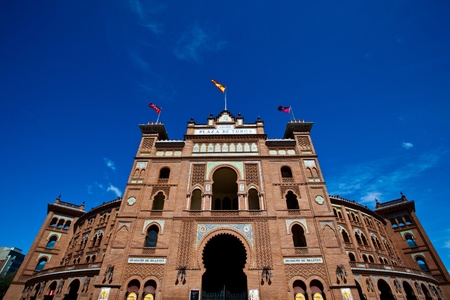 plaza de toros: Plaza de Toros, The bull fight stadium in Madrid, Spain with clear blue sky on the background Stock Photo