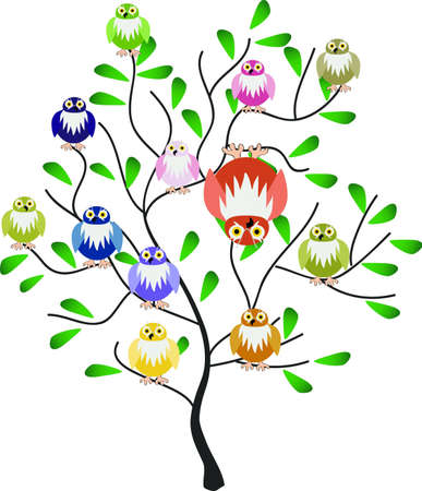 owl, flowers Vector