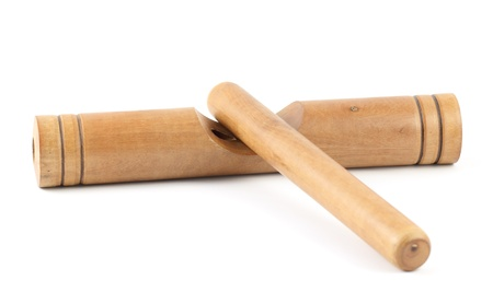 clave: Wooden claves isolated on a white background.