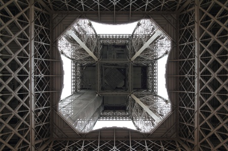 View of the Eiffel Tower from directly underneath.