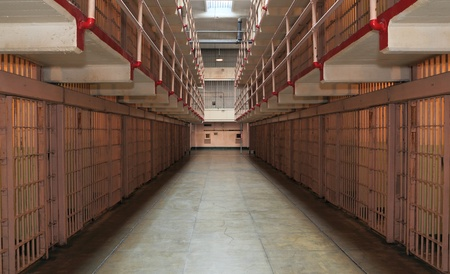 Long row of prison cells photo