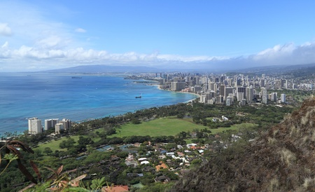 diamond head: View of Honolulu and surrounding area from the summit of Diamond Head Crater Stock Photo