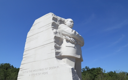 Washington, DC - May 19, 2012: A stone sculpture of Dr. Martin Luther King, Jr. showing the text from his famed 1963 speech: Out of the mountain of despair a stone of hope