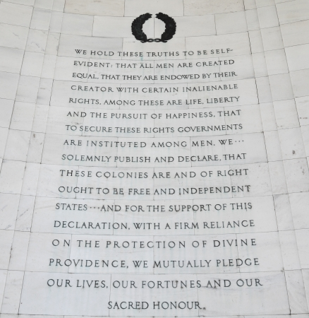 declaration: Inscription on the southwest quadrant of the Jefferson Memorial in Washington, DC.  Passages were selected from the Declaration of Independence drafted in 1776.