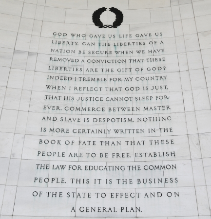 passages: Inscription on the northeast quadrant of the Jefferson Memorial in Washington, DC.  Passages were selected from multiple writings drafted by Thomas Jefferson. Stock Photo