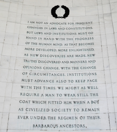 passages: Inscription on the southeast quadrant of the Jefferson Memorial in Washington, DC.  Passages were selected from a letter written by Jefferson to Kercheval. Stock Photo