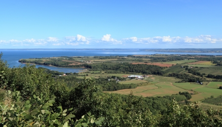 View of Annapolis Valley and the Bay of Fundy from The Lookoff on North Mountain, Nova Scotia, Canada  photo