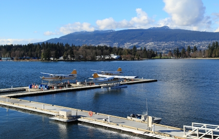 Three float planes docked in a harbour. photo