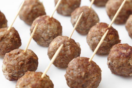 Home-made meatballs served with toothpicks  photo