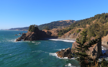 Looking north from Arch Rock Picnic Area, Oregon Coast Trail. photo