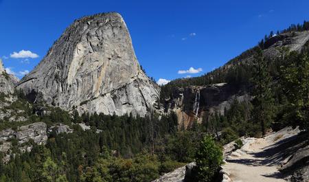 john muir trail: Liberty Cap and Nevada Falls. Photographed from the John Muir Trail, Yosemite National Park, California.