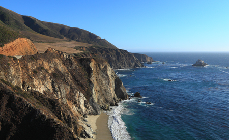 Southward view of State Route 1 on the Big Sur coast of California, just south of the historic Bixby Bridge. Stock Photo