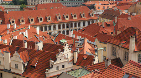 classical style: Southward view of classical style architecture with red clay roof tiles. Photographed from Paradise Garden (Rajská zahrada), Prague, Czech Republic. Stock Photo