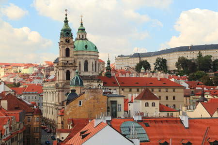 st charles: Westward view of Lesser Town (Malá Strana) and the Church of St. Nicholas from the Lesser Town Bridge Tower (Charles Bridge).