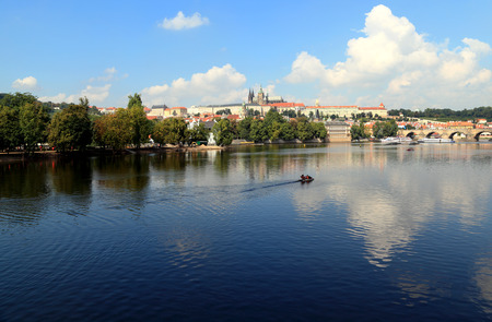 vltava river: City of Prague - View of Lesser Town (Mal� Strana), St. Vitus Cathedral, and Charles Bridge. Photographed from Legion Bridge looking northwest across the Vltava River.