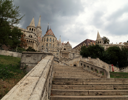 schulek: View of the eastern stairway entrance up to Fishermans Bastion, Budapest, Hungary.