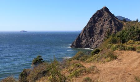 The Oregon Coast - Looking north along the southern coast of Oregon near Humbug Mountain State Park. 版權商用圖片