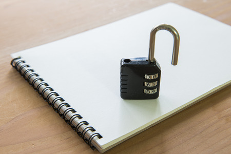 There is a lock, meaning privacy notebook photo