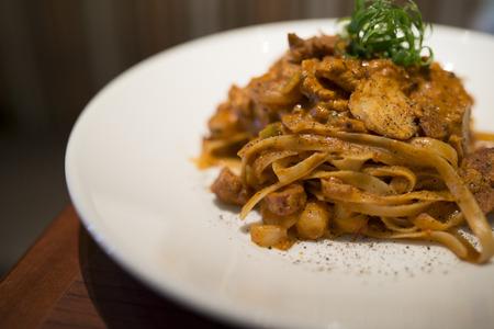 garnish: spaghetti bolognese with basil garnish