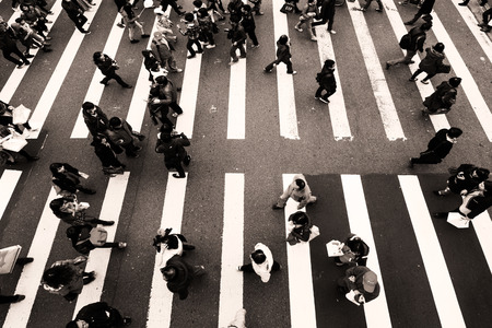 crowded: Zebra pedestrian walking through the streets of Taipei Stock Photo